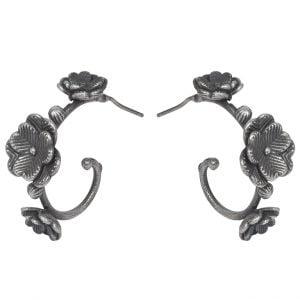 Silver Lookalike Brass Oxidised Blossom Stud Earrings Main Image