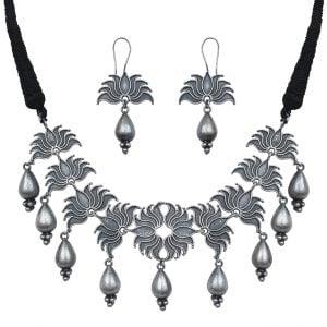 Silver Lookalike Brass Oxidised Boho Banjaran Lotus Motif Necklace Earrings Set Main Image