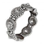 Silver Lookalike Brass Oxidised Boho Flower Motif Bangle – Adjustable Main Image