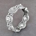 Silver Lookalike Brass Oxidised Boho Flower Motif Bangle – Adjustable