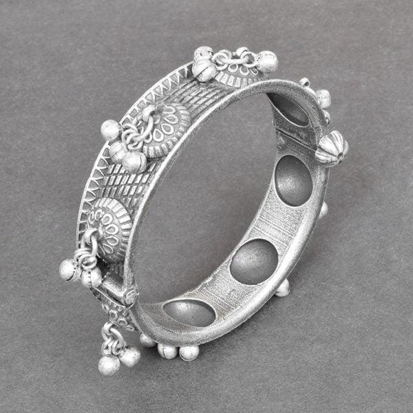 Silver Lookalike Brass Oxidised Boho Statement Ghungroo Bangle – Adjustable On Black Background