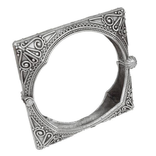 Silver Lookalike Brass Oxidised Boho Statement Square Bangle – Adjustable Main Image