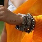 Silver Lookalike Brass Oxidised Boho Statement Square Bangle – Adjustable