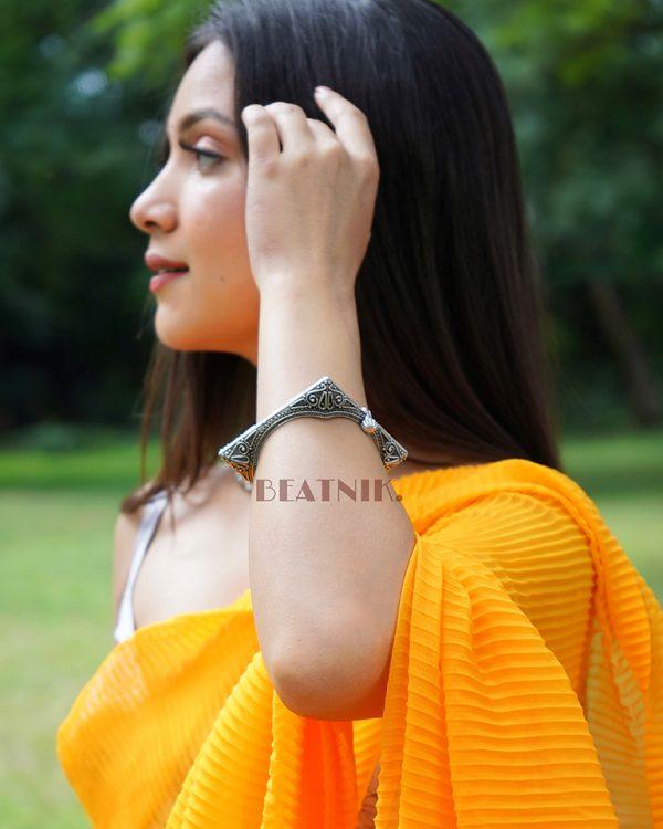 Silver Lookalike Brass Oxidised Boho Statement Square Bangle – Adjustable Lifestyle Image