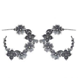 Silver Lookalike Brass Oxidised Floret Earcuff Stud Earrings Main Image