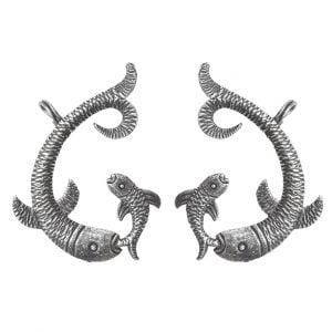 Silver Lookalike Brass Oxidised Mullet Stud Earrings Main Image