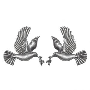 Silver Lookalike Brass Oxidised Squab Motif Stud Earrings Main Image