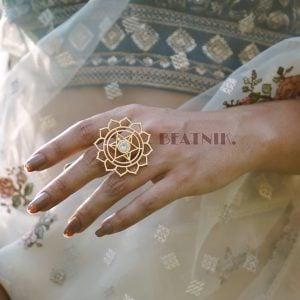 Gold Plated Brass Statement Minimal Star Motif Ring - Adjustable Lifestyle Image