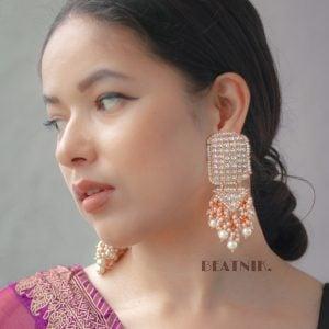 Gold Plated Traditional Kundan Pearl Statement Chandabali Earrings Lifestyle Image