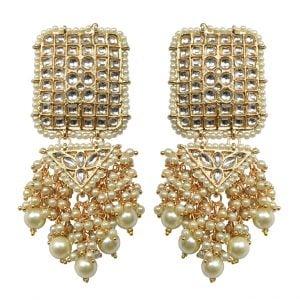Gold Plated Traditional Kundan Pearl Statement Chandabali Earrings Main Image