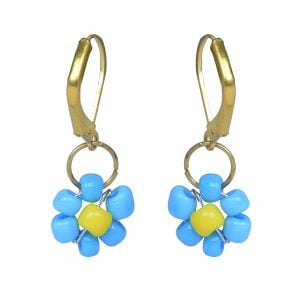 Hand Beaded Dainty Trinket Hoop Earrings - Blue Daisy Main Image