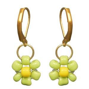 Hand Beaded Dainty Trinket Hoop Earrings - Green Daisy Main Image