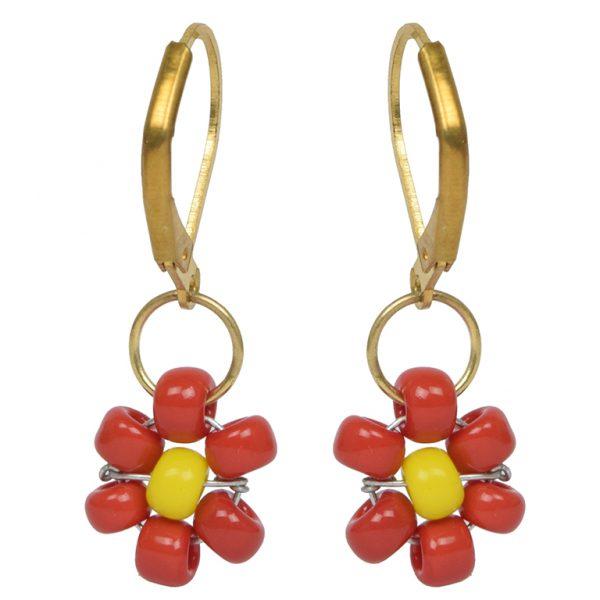 Hand Beaded Dainty Trinket Hoop Earrings - Red Daisy Main Image