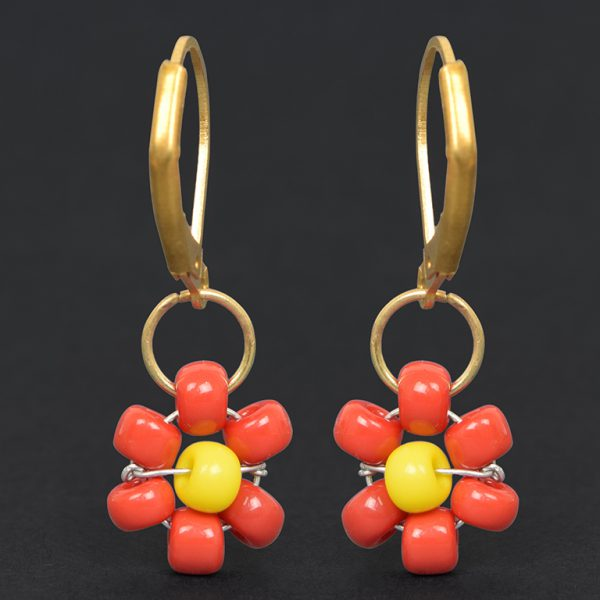 Hand Beaded Dainty Trinket Hoop Earrings - Red Daisy On Black Background