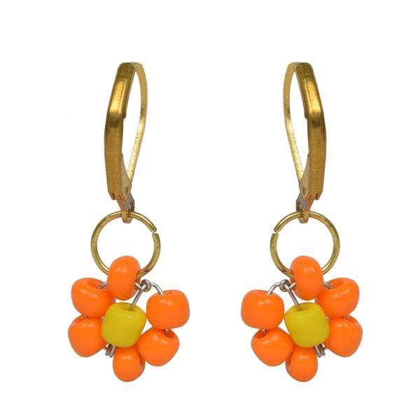 Hand Beaded Dainty Trinket Hoop Earrings - Yellow Daisy Main Image