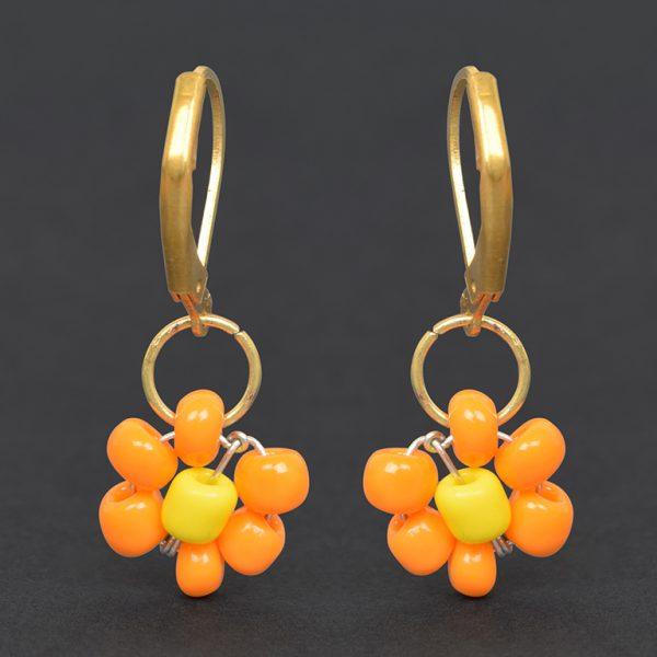 Hand Beaded Dainty Trinket Hoop Earrings - Yellow Daisy On Black Background