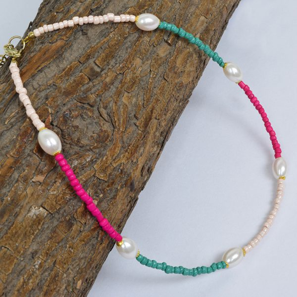 Hand Beaded Minimal Statement Pearl Necklace On Wooden Log