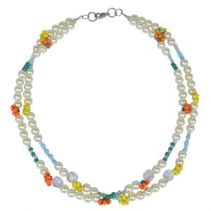 Hand Crafted Stylish Seed Beads Multicolor Daisy Layered Necklace Main Image