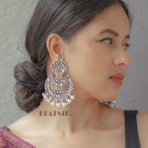 Kundan Pearl Classic Statement Hanging Earrings Lifestyle Image