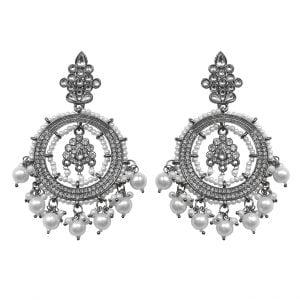 Kundan Pearl Traditional Statement Hanging Black Metal Earrings Main Image