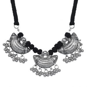 Oxidised Silver Antique Bohemian Statement Necklace Main Image