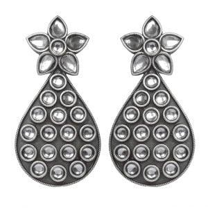 Oxidised Silver Statement Rhinestone Hanging Earrings Main Image