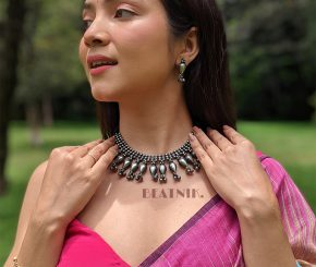 Silver Lookalike Brass Oxidised Antique Bohemian Ghungroo Necklace Earrings Set Lifestyle Image