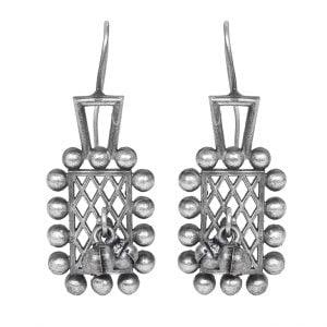 Silver Lookalike Brass Oxidised Antique Curio Motif Earrings Main Image