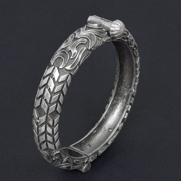 Silver Lookalike Brass Oxidised Antique Statement Bangle – Adjustable On Black Background