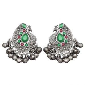 Silver Lookalike Brass Oxidised Bird-of-Juno Styled Earrings Main Image