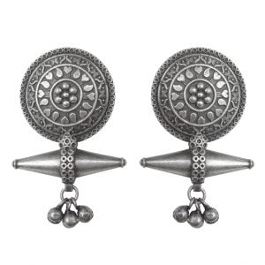 Silver Lookalike Brass Oxidised Bohemain Floret Ghungroo Earrings Main Image