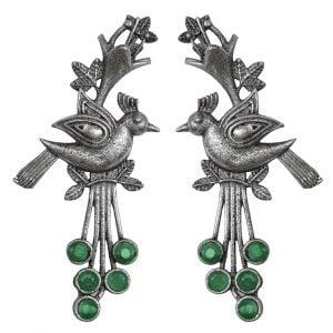 Silver Lookalike Brass Oxidised Bohemian Bird Motif Earrings Main Image