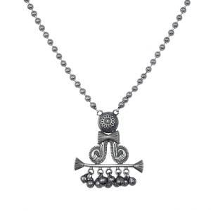 Silver Lookalike Brass Oxidised Boho Banjaran Long Necklace Main Image