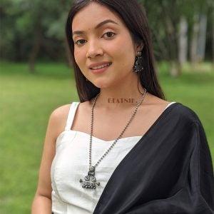 Silver Lookalike Brass Oxidised Boho Banjaran Long Necklace Lifestyle Image