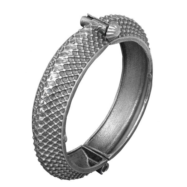 Silver Lookalike Brass Oxidised Boho Patterned Motif Bangle – Adjustable Main Image