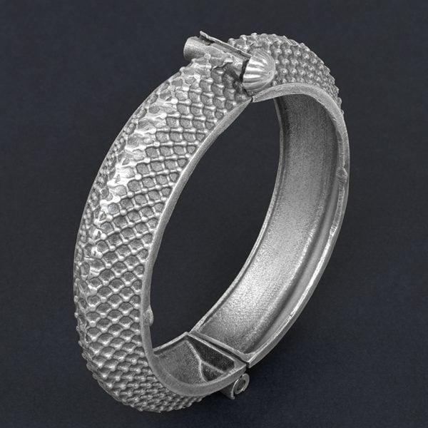 Silver Lookalike Brass Oxidised Boho Patterned Motif Bangle – Adjustable On Black Background