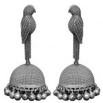 Silver Lookalike Brass Oxidised Boho Statement Parakeet Jhumki Earrings Main Image