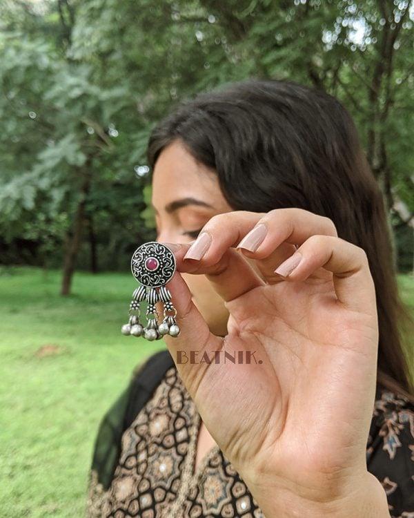 Silver Lookalike Brass Oxidised Elegant Choker Necklace Earrings Set Lifestyle Image