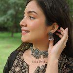 Silver Lookalike Brass Oxidised Elegant Choker Necklace Earrings Set