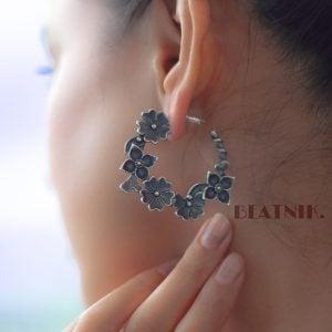 Silver Lookalike Brass Oxidised Floret Earcuff Stud Earrings Lifestyle Image
