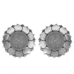 Silver Lookalike Brass Oxidised Kamalam Earrings Main Image