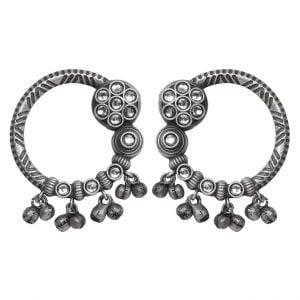 Silver Lookalike Brass Oxidised Minimal Statement Stud Earrings Main Image