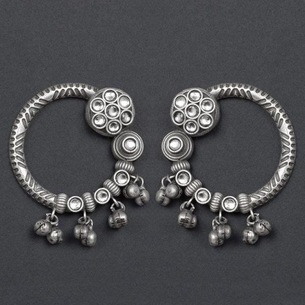 Silver Lookalike Brass Oxidised Minimal Statement Stud Earrings On Black Background