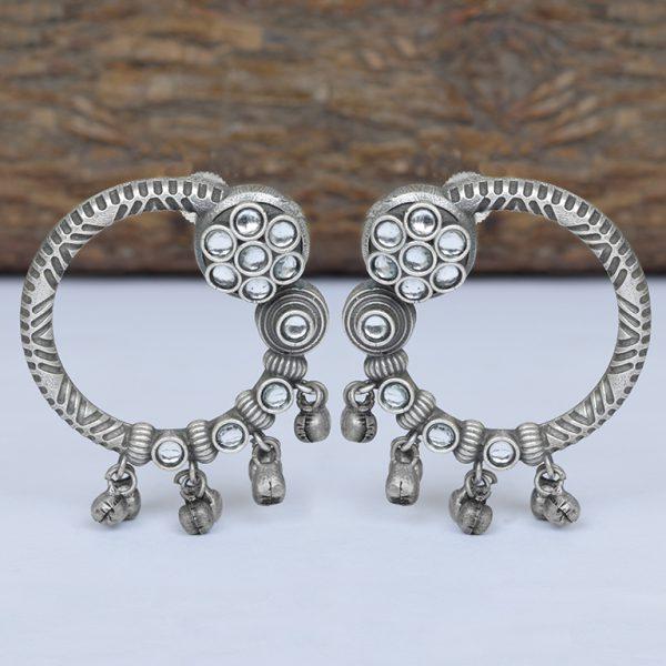 Silver Lookalike Brass Oxidised Minimal Statement Stud Earrings On Wooden Log