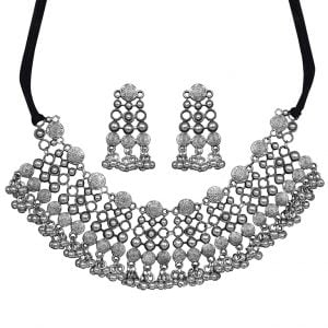 Silver Lookalike Brass Oxidised Royal Statement Necklace Earrings Set Main Image