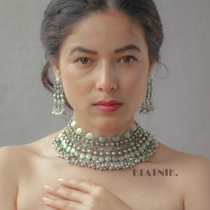 Oxidised Silver Royal Statement Ghungroo Necklace Earrings Set Lifestyle Image