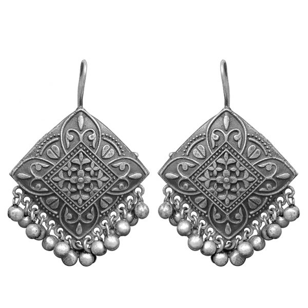 Silver Lookalike Brass Oxidised Square Statement Jhumki Earrings Main Image
