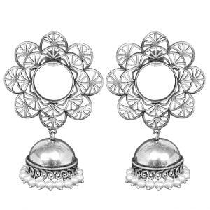Silver Lookalike Brass Oxidised Statement Jhumki Earrings - Blossom Main Image