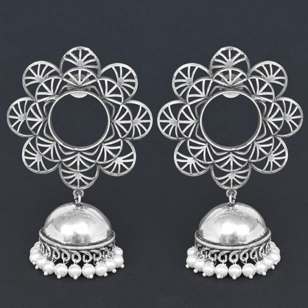 Silver Lookalike Brass Oxidised Statement Jhumki Earrings - Blossom On Black Background