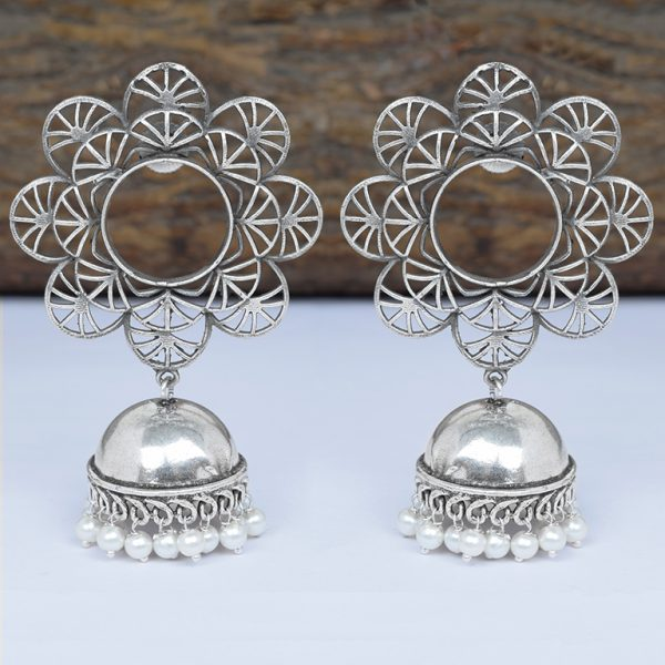 Silver Lookalike Brass Oxidised Statement Jhumki Earrings - Blossom On Wooden Log